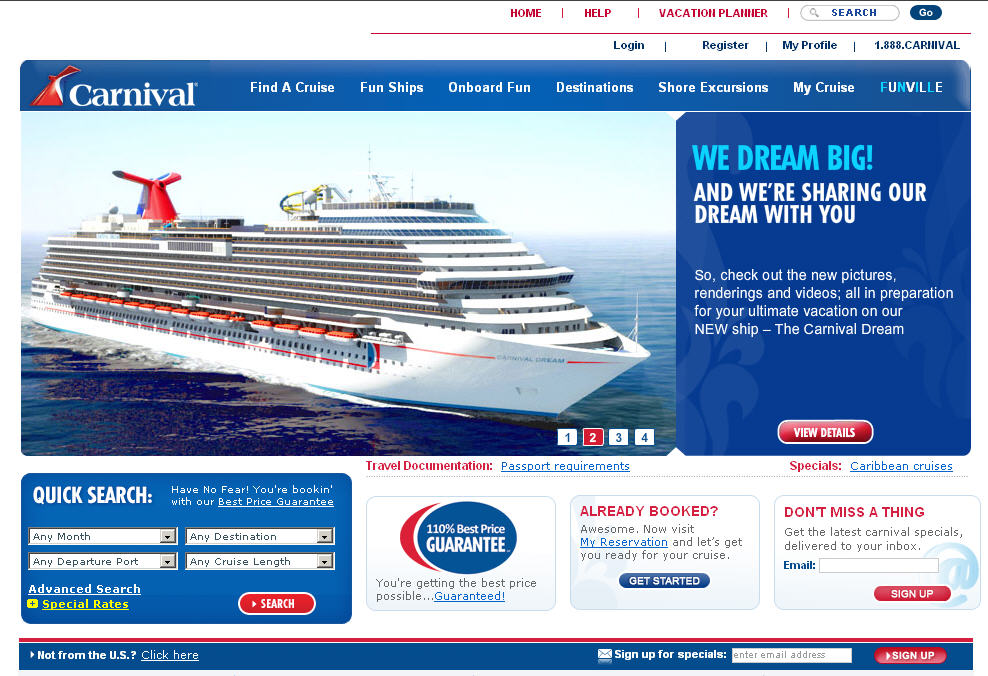 carnival cruise line home page