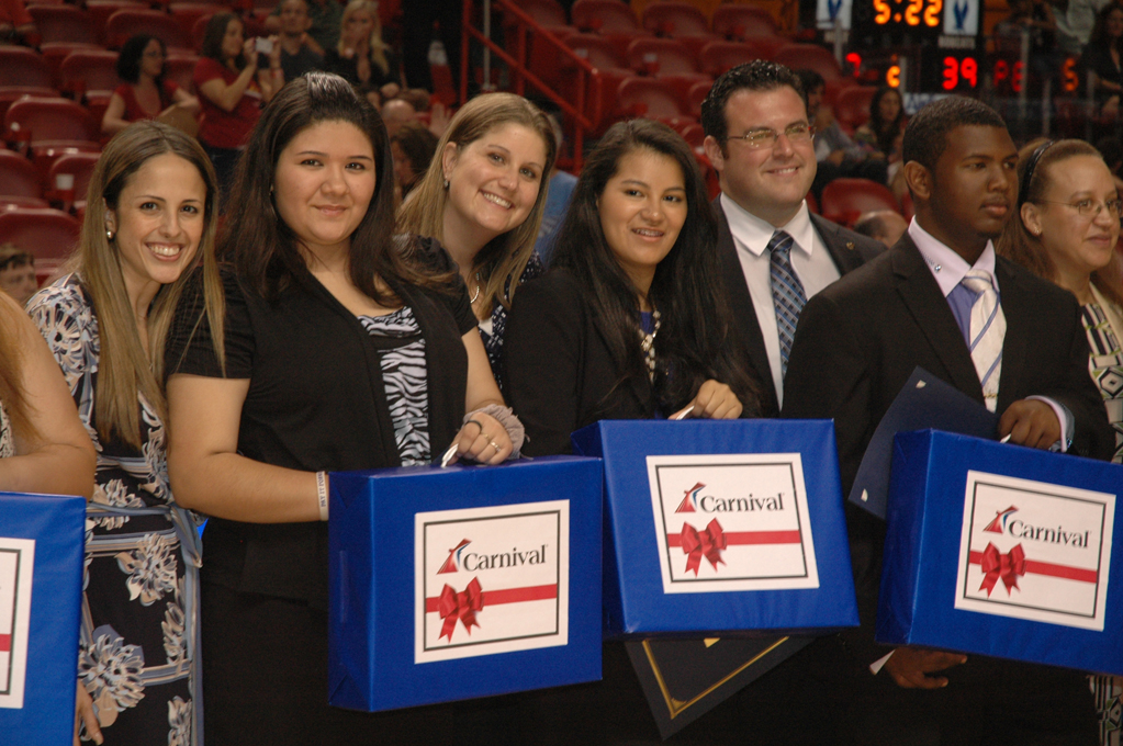 Carnival Presents High School Students with Four-Year Scholarships, Laptop Computers During Halftime of Miami HEAT Game