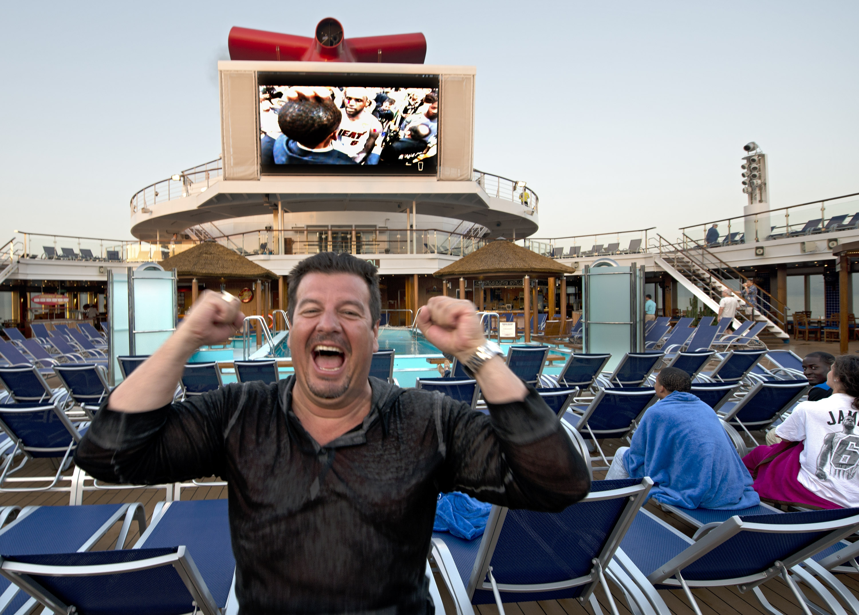 Miami Heat Fans Sailing on the Carnival Sunshine Celebrate the Team's Second Consecutive NBA Championship Win