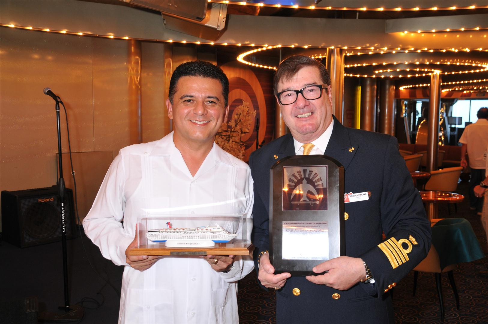 Carnival Imagination Captain Accepts 'Friends of Cozumel' Award From City's Mayor