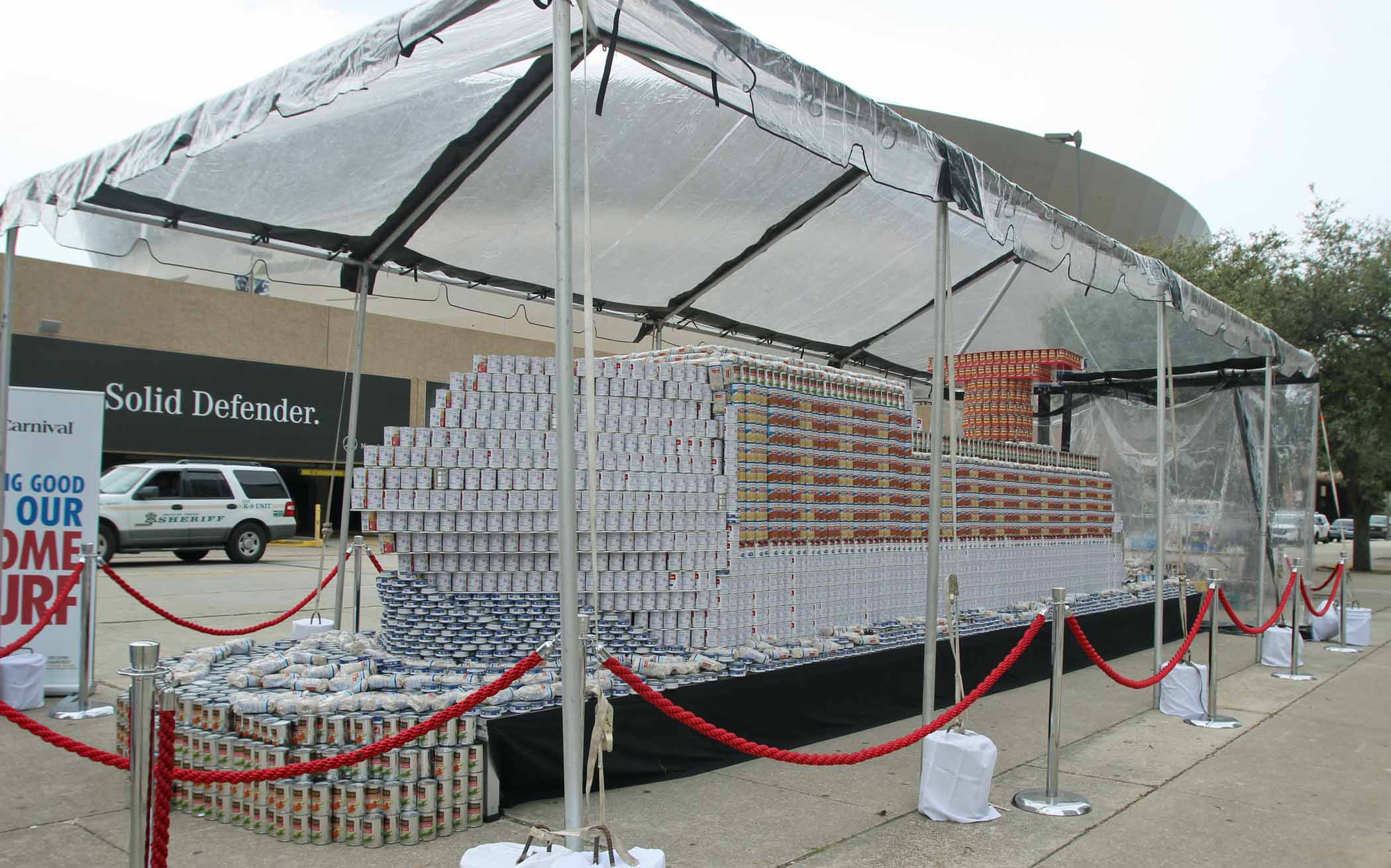 Carnival Cruise Line Builds World's Largest Cruise Ship Made Of Canned Food At Monday's New Orleans Saints Game