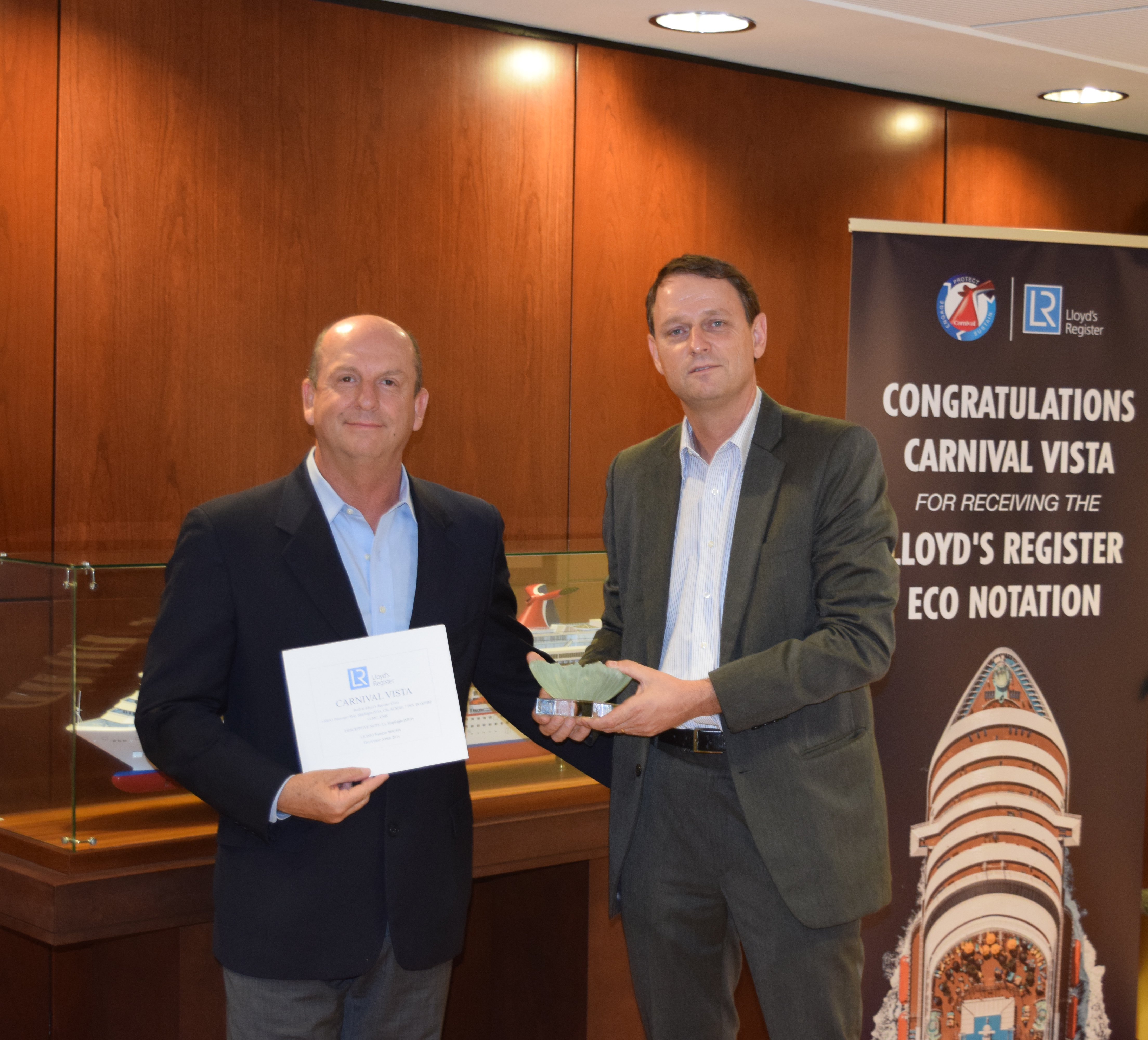 Carnival Cruise Line's Newest Ship, Carnival Vista, Recognized by Lloyd's Register for 'Green' Ship Environmental Design, Construction and Operation
