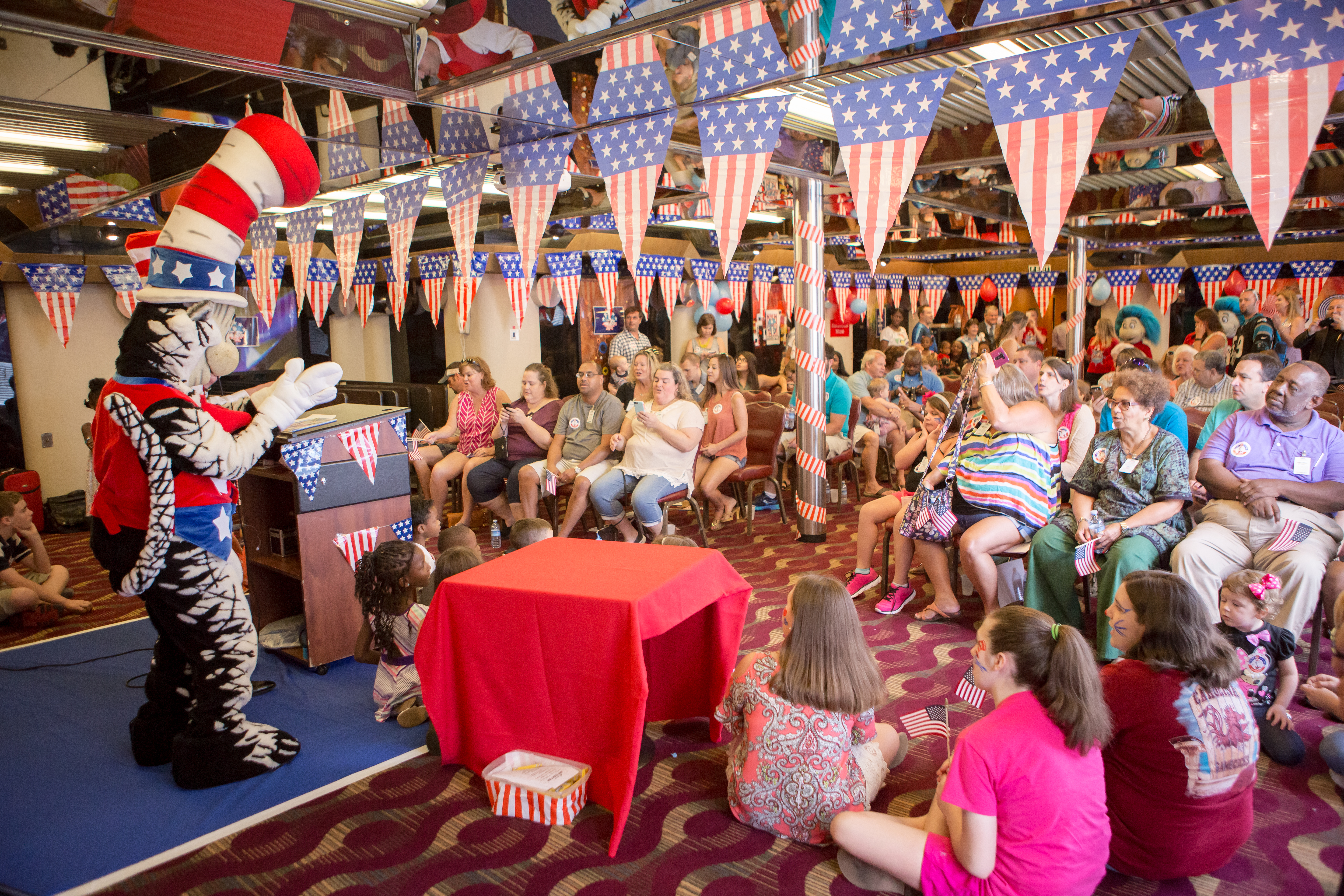 Cat In The Hat's Just-Announced Presidential Campaign Celebrated With Fun Rally For Kids Aboard Carnival Ecstasy At Port Of Charleston