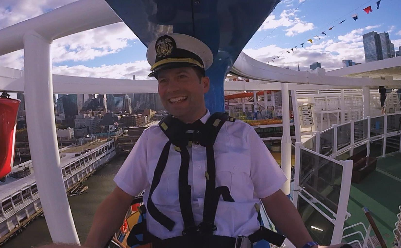 A Battle in the Sky! Fun Video Shows Andy Zenor of The Ellen DeGeneres Show Racing Country  Music Superstar on SkyRide Aerial Attraction aboard New Carnival Vista  in New York