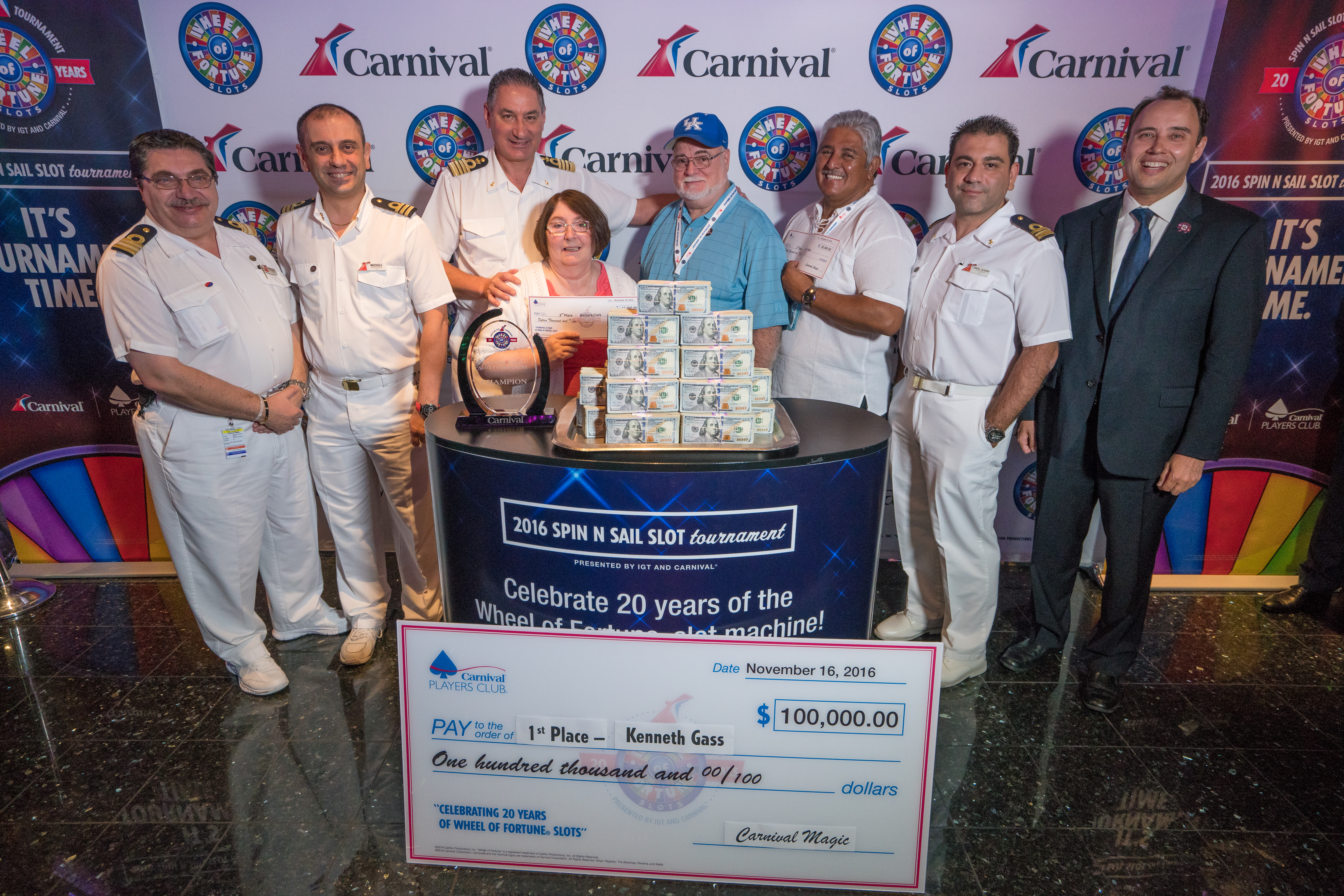 Carnival Cruise Line and IGT Wrap-Up a Year-Long Celebration of 20 Years of Wheel of Fortune® Slots with a $100,000 Grand Prize Slots Tournament Winner