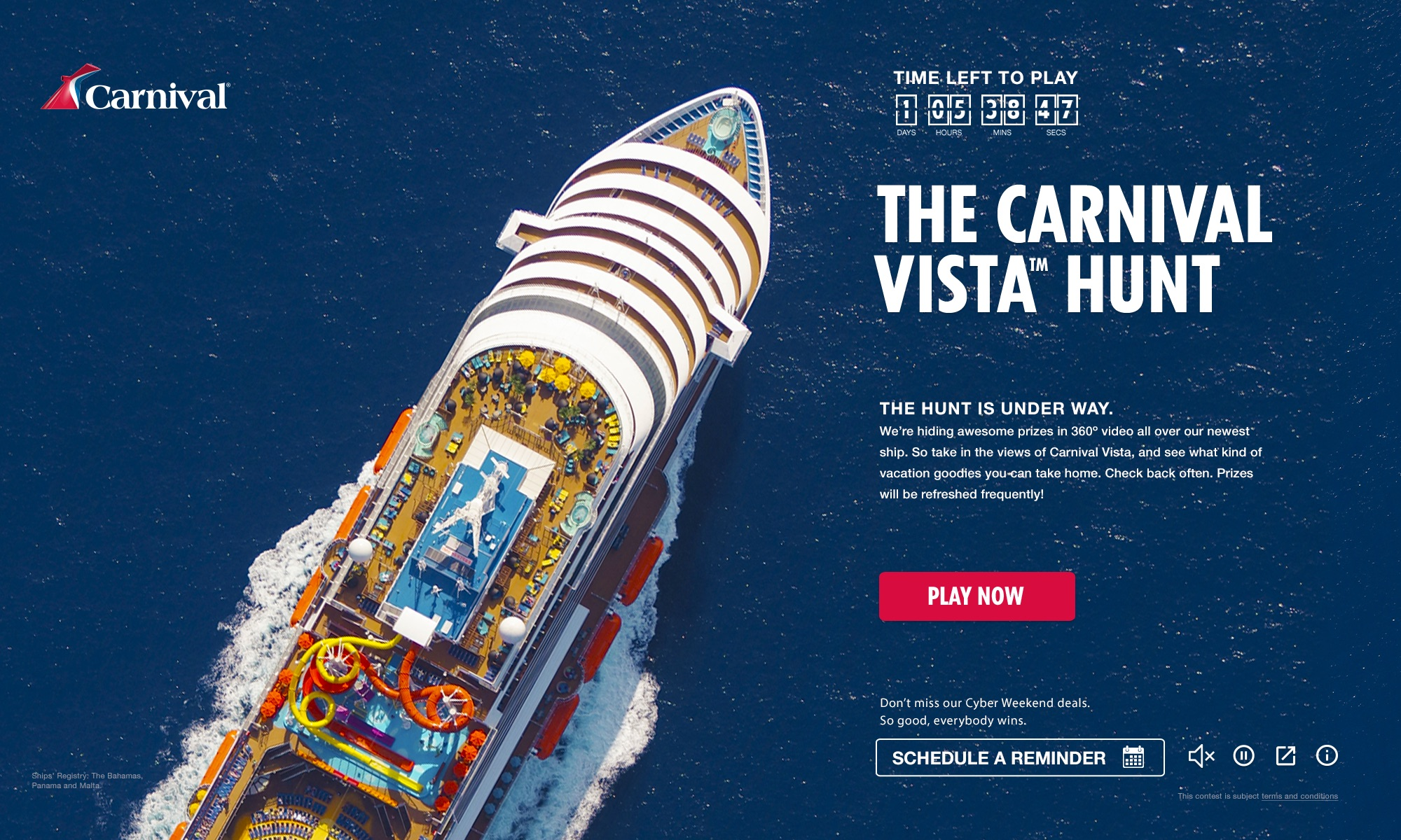 'Carnival Vista Hunt' Game Offers Wide Variety of Great Prizes, Including Chance to Win Free Cruises On the New 133,500-ton Ship