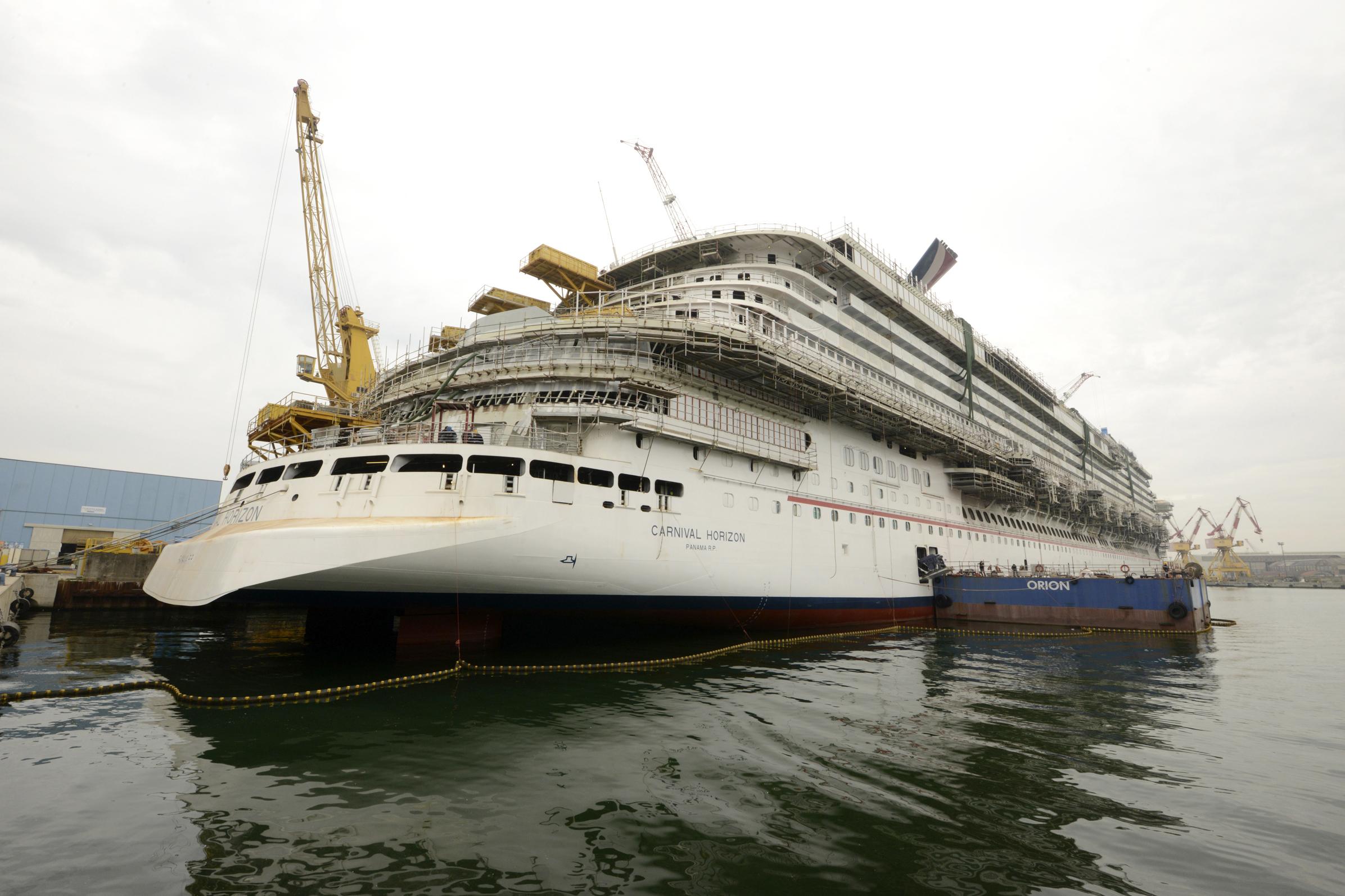 Construction of New Carnival Horizon Moving Along as Scheduled at Italy's Fincantieri Shipyard