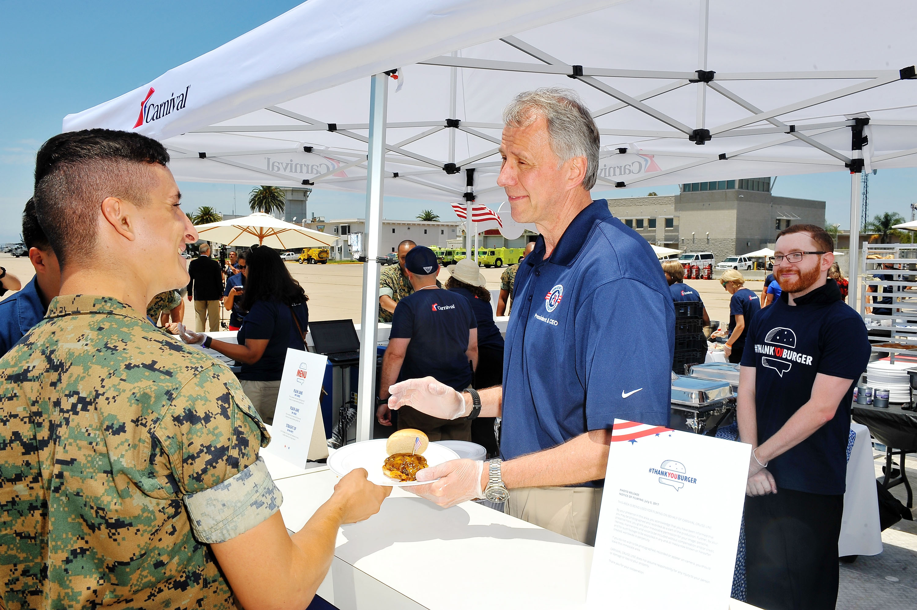 Carnival Cruise Line Thanks the Troops with the World's First Social Media Powered Barbecue at Marine Corps Air Station Miramar in San Diego
