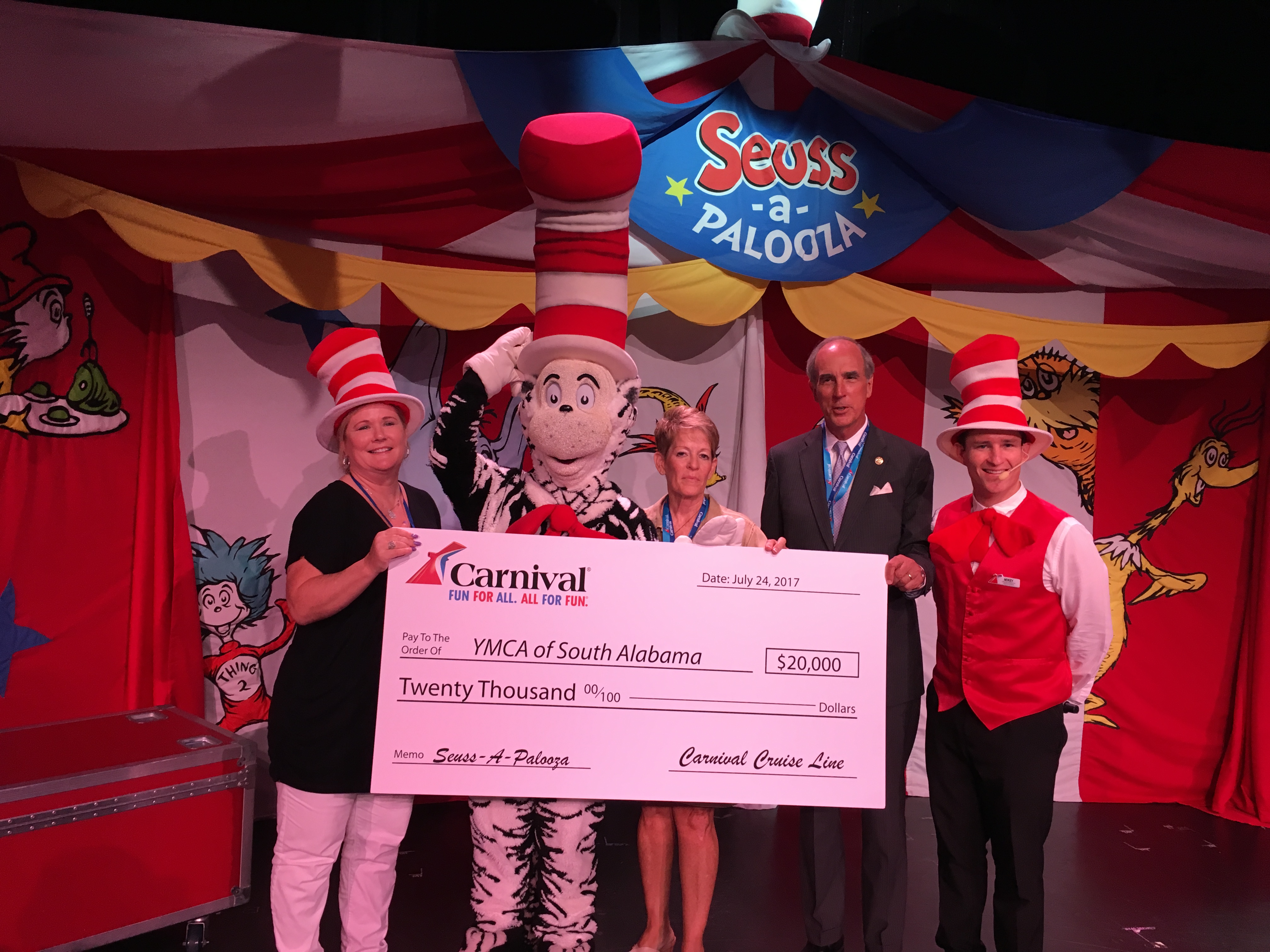 Carnival Cruise Line Hosts Seuss-a-Palooza Event Aboard Carnival Fantasy in Mobile For Kids from the YMCA of South Alabama