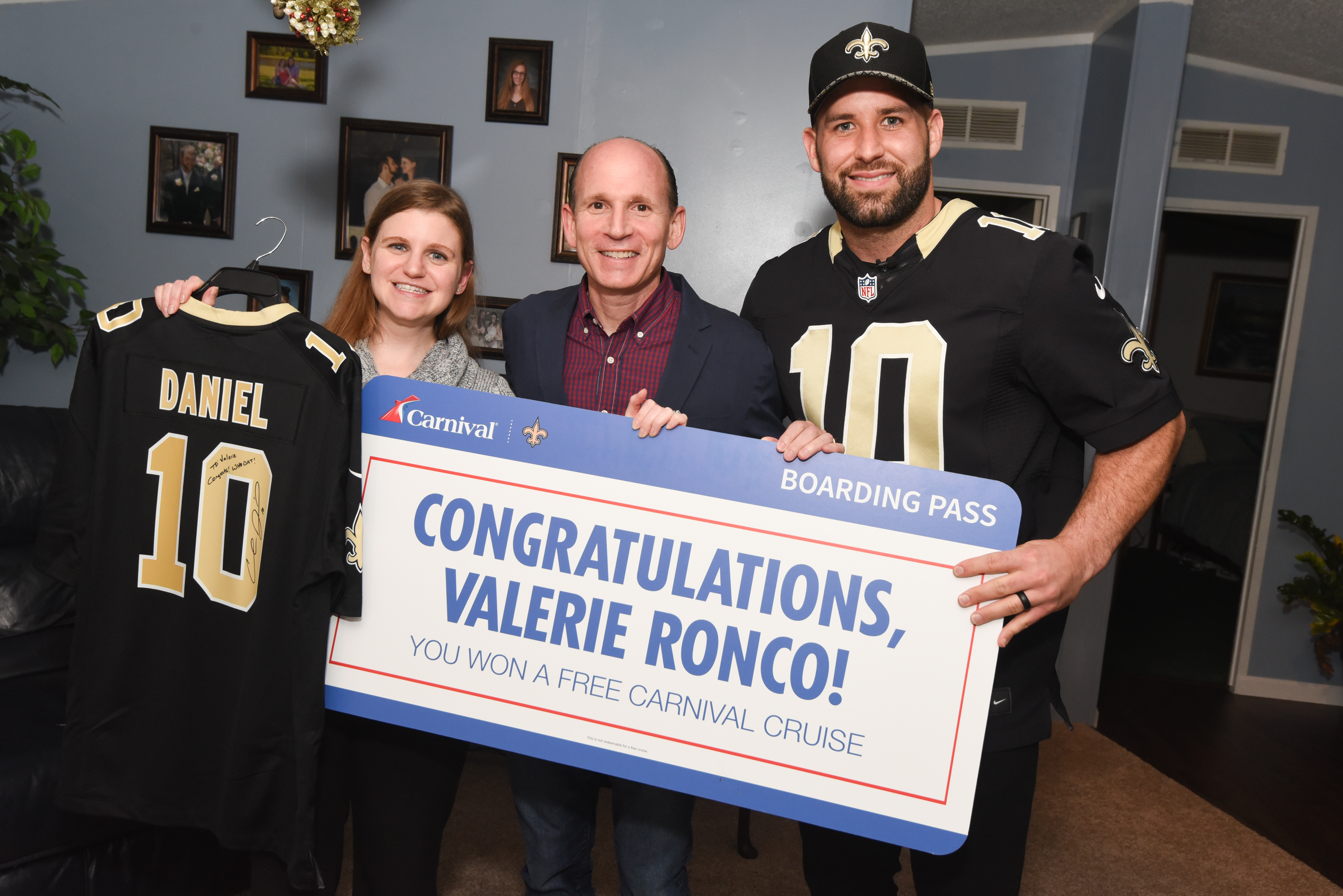 New Orleans Saints Quarterback Chase Daniel Delivers Holiday Surprise to Lucky Fan as Part of Sweepstakes Sponsored by Carnival Cruise Line and Supporting Brees Dream Foundation