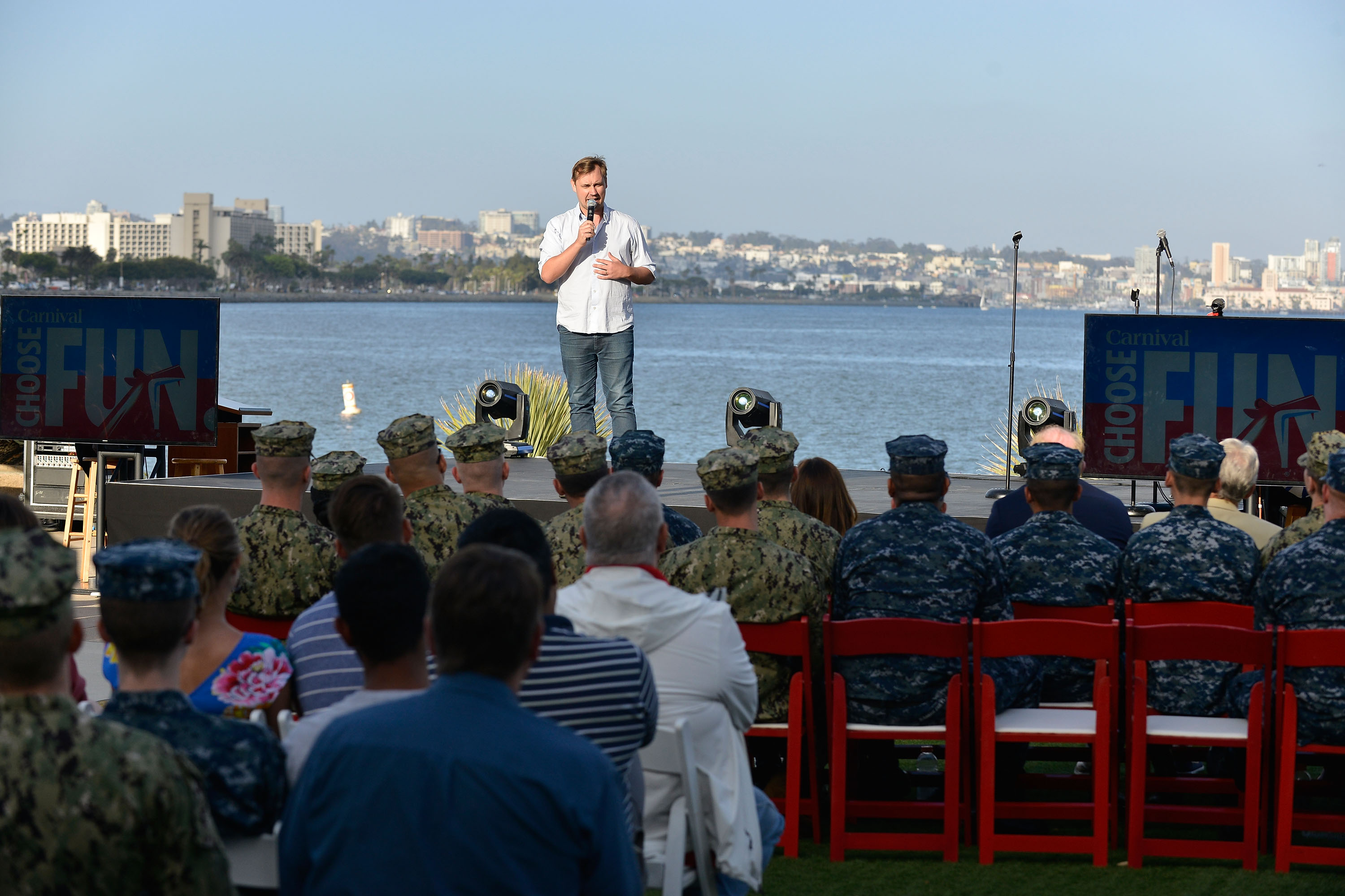 Carnival Cruise Line Hosts 'Humor for Heroes' Event at Naval Base Point Loma In San Diego Featuring Special Comedy Performance for 500 Military Personnel
