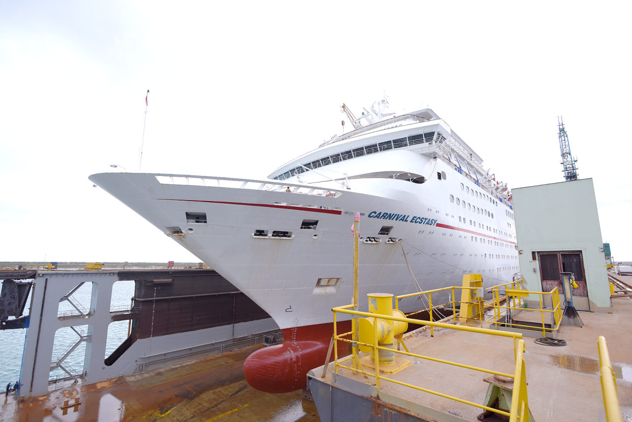 Carnival Ecstasy to Undergo Dry Dock at Grand Bahama Shipyard in Freeport, Becomes First Cruise Ship to Use the Facility Since Hurricane Dorian