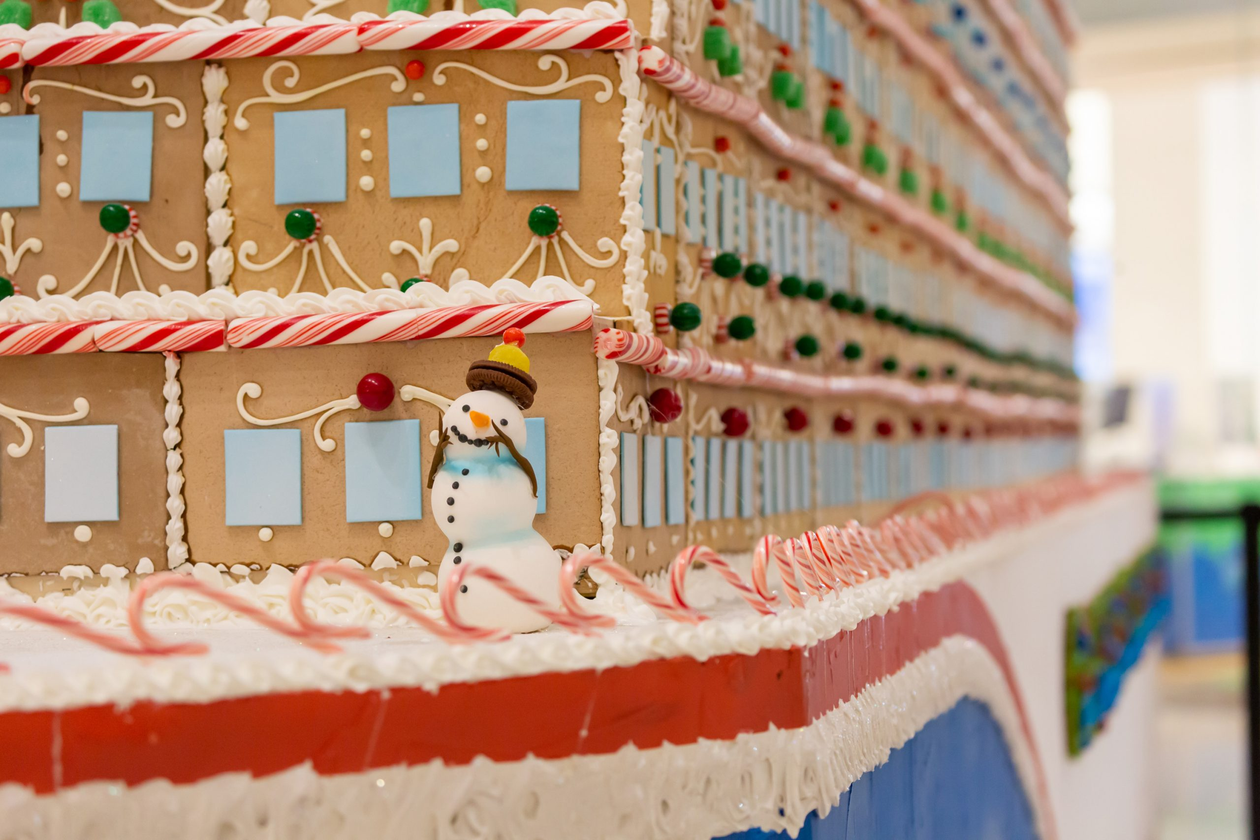 Massive Gingerbread Cruise Ship Modeled After Carnival Cruise Line's New Mardi Gras 'Docks' at Atlanta Mall