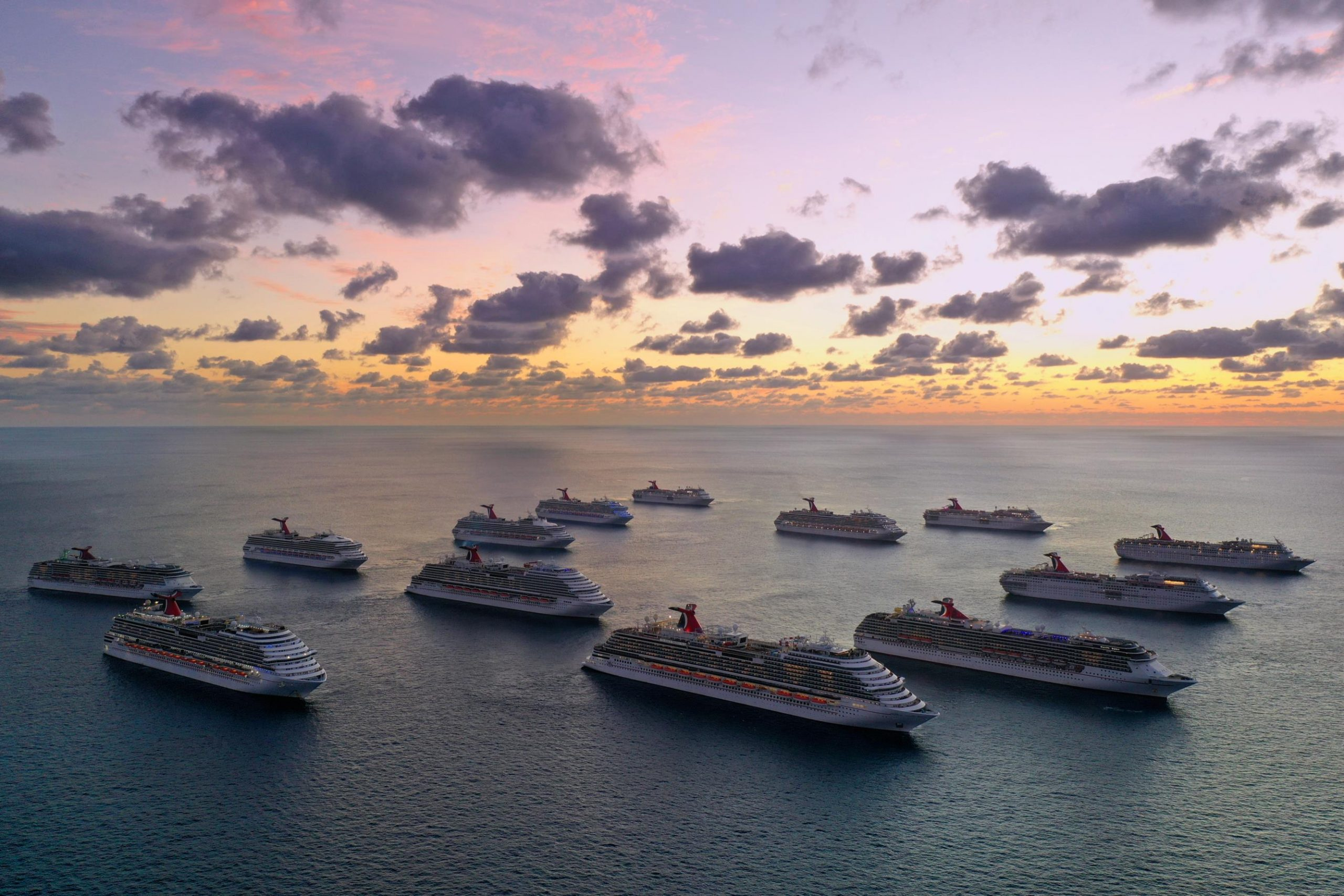 Carnival Cruise Line ships are docked off the coast of The Bahamas as they prepare to repatriate crew members to their home countries throughout the world (July 2020)
