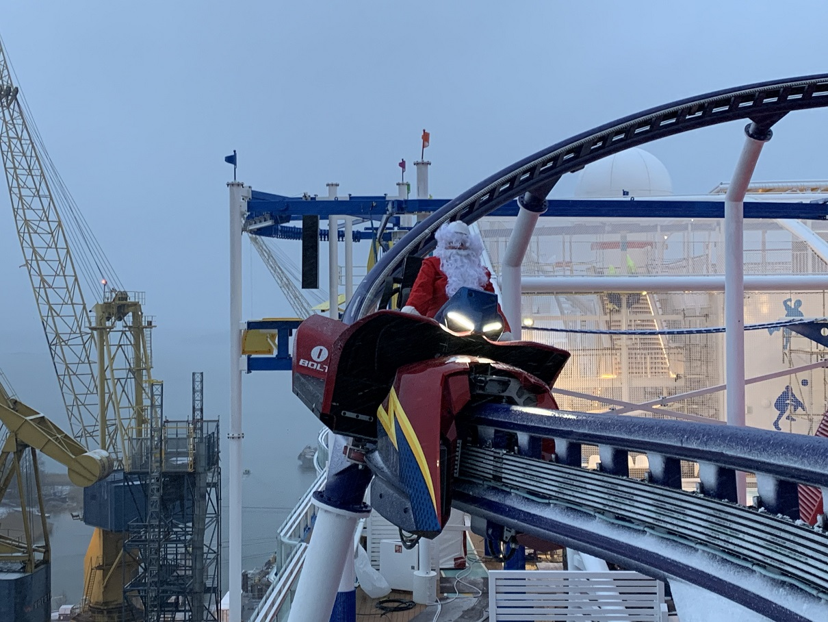 Santa Claus took a break from his pre-Christmas festivities to venture down to Finland and take a test run on BOLT, the first-ever roller coaster at sea aboard Carnival Cruise Line's new Mardi Gras  (December 2020)