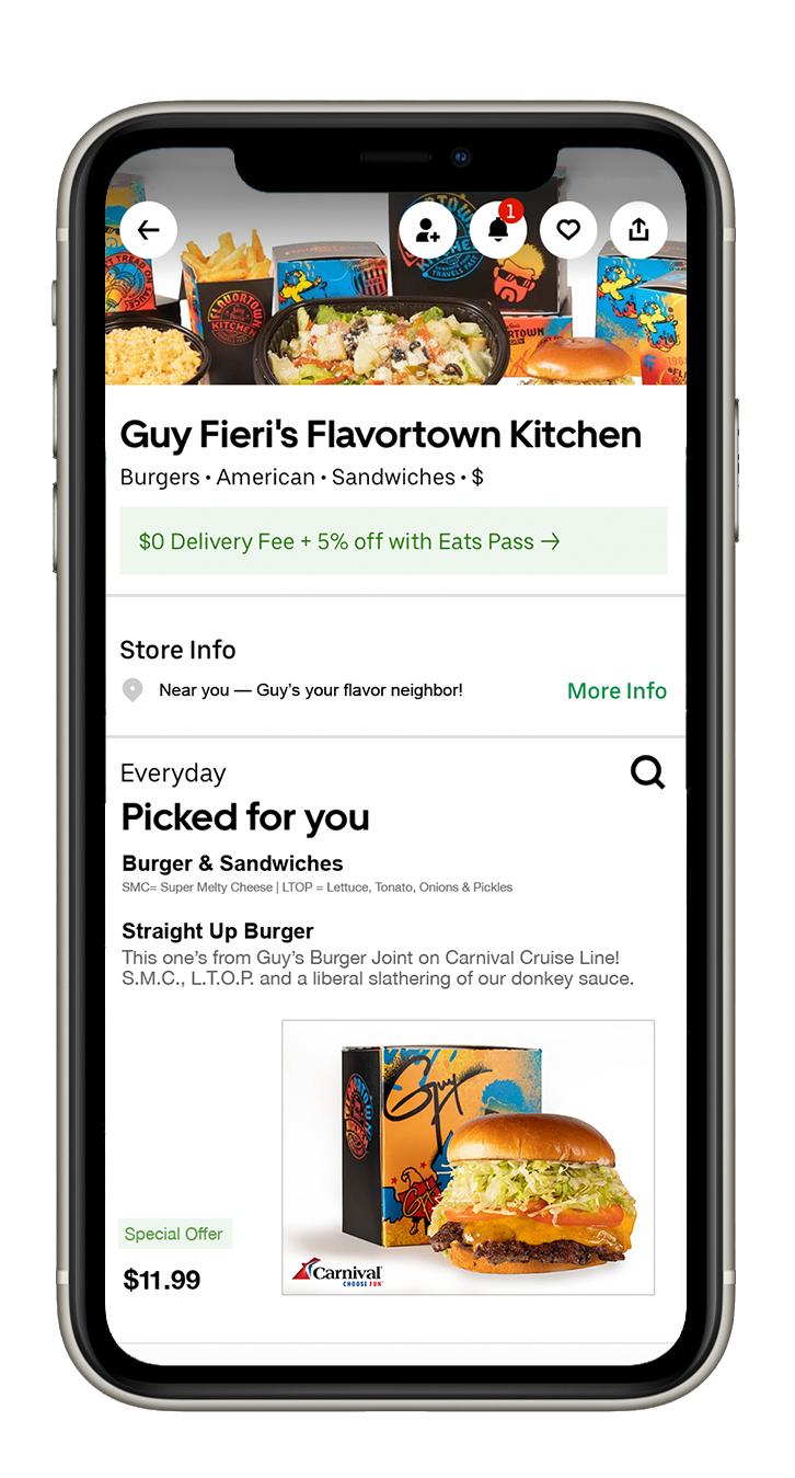 Carnival Cruise Line Partners With Guy Fieri's Flavortown Kitchen on Home Delivery of Guy's Burger Joint Offerings