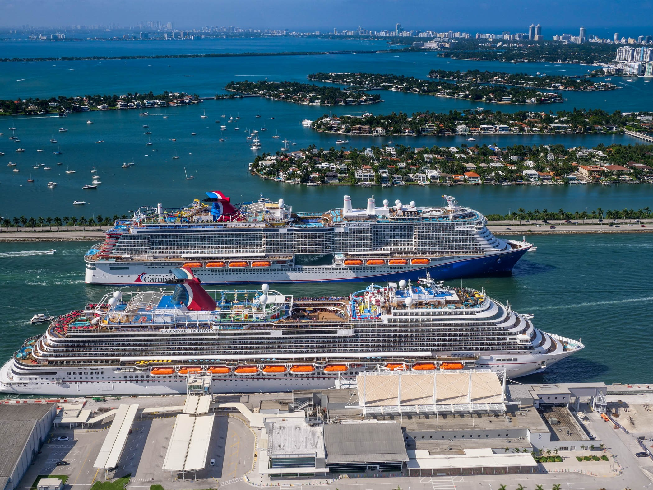 Carnival Cruise Line Resumes Operations from PortMiami This Afternoon, Carnival Horizon Joined By Mardi Gras for a Special Sailaway Moment
